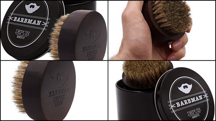 Brosse à barbe en bois et poils de sangliers naturels BARBMAN