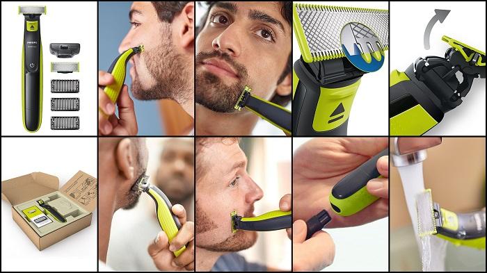 Tondeuse pour barbe OneBlade avec lame de rechange + 3 sabots PHILIPS QP2520