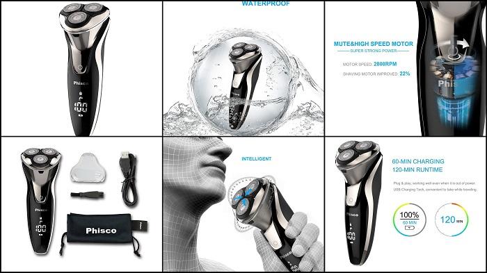 Rasoir électrique à têtes rotatives PHISCO IPX7